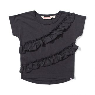 Lil Missie Munster I'm Frilled Top (washed black)