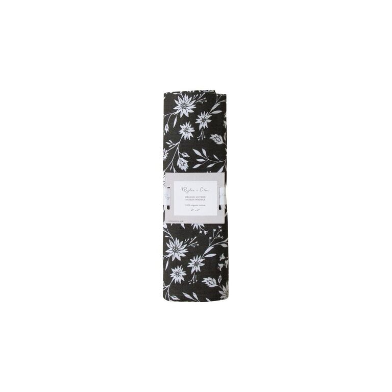 Rylee and Cru Organic Muslin Swaddle (midnight floral)