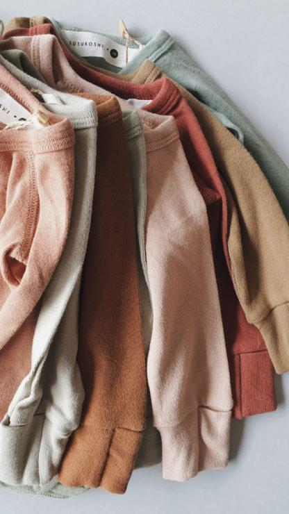Susukoshi Organic Kimono L/S Bodysuit (taupe)