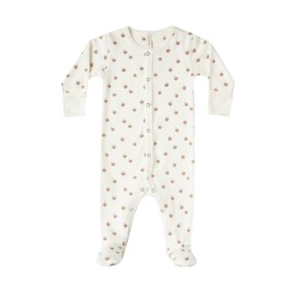 Quincy Mae Full Snap Footie (ivory/peach)
