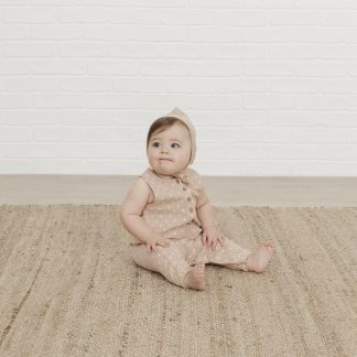 Quincy Mae Woven Sleeveless Snap Jumpsuit (ocre)