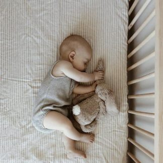 7 Pm Linen Cot Sheet (natural stripe)