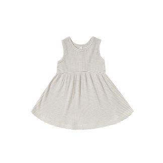 Quincy Mae Ribbed Tank Dress (fog stripe)