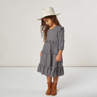 Rylee and Cru Mabel Dress (indigo ditsy)