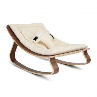Charlie Crane Levo Rocker Walnut w/organic white cushion