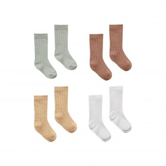 Quincy Mae Baby Socks 4 Pack (sage, clay,honey, ivory)