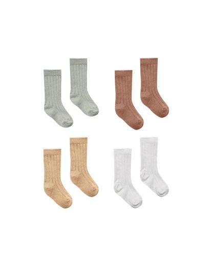 Quincy Mae Baby Socks 4 Pack (sage, clay,honey, ivory)