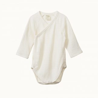 Nature Baby Pointelle Long Sleeve Kimono Bodysuit