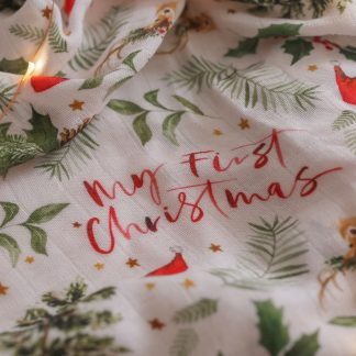 "Two Darlings ""My First Christmas"" Bamboo Swaddle**Pre Order"