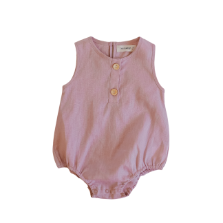 Two Darlings Linen Bubble Romper (peony)