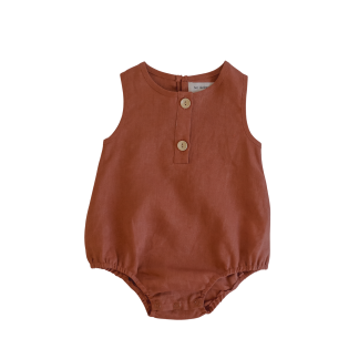 Two Darlings Linen Bubble Romper (clay)