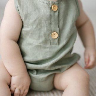 Two Darlings Linen Bubble Romper (sage)