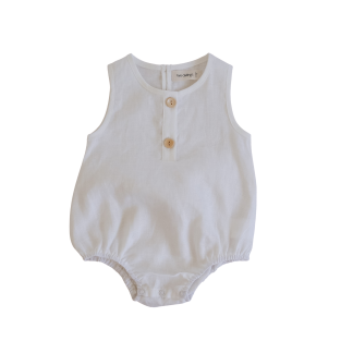 Two Darlings Linen Bubble Romper (coconut)